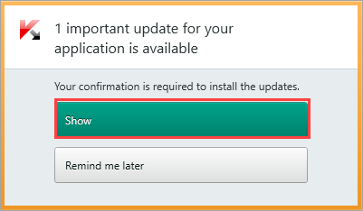 Image:  the notification window of Kaspersky Total Security