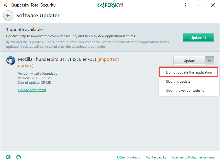 Image: the Software Updater window in Kaspersky Total Security