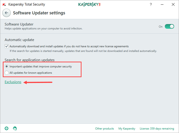 Image: the Software Updater settings window in Kaspersky Total Security