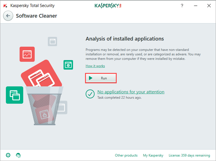 Image: the Software Cleaner window in Kaspersky Total Security