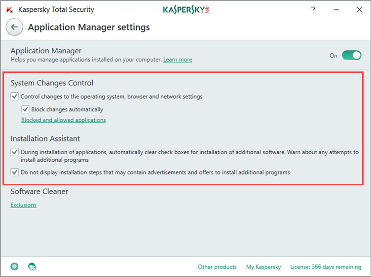Image: Kaspersky Total Security Application Manager settings window