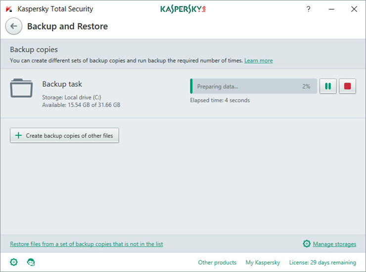 Image: the Backup and Restore window in Kaspersky Total Security 2018