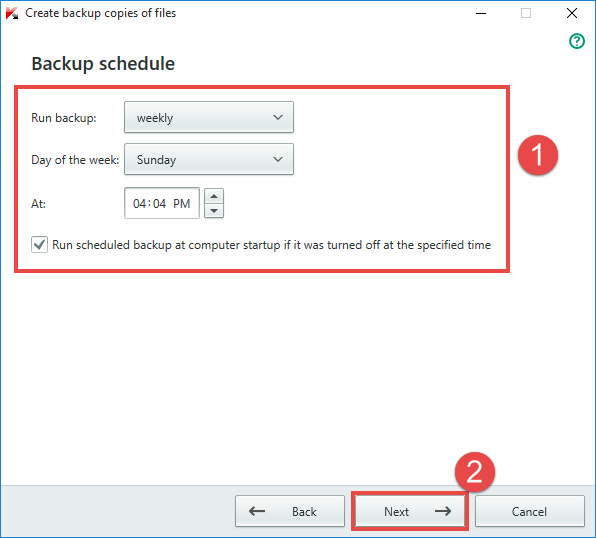 Image: the Backup schedule window in Kaspersky Total Security 2018