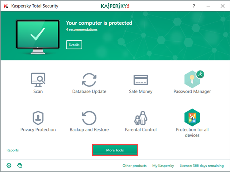 Image: Kaspersky Total Security main window