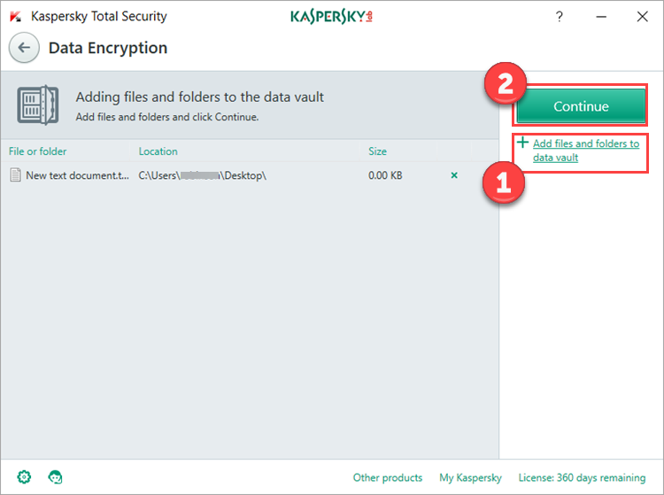 Image: the Data Encryption window in Kaspersky Total Security