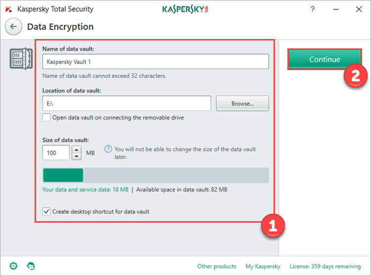 Image: creating a vault in Kaspersky Total Security