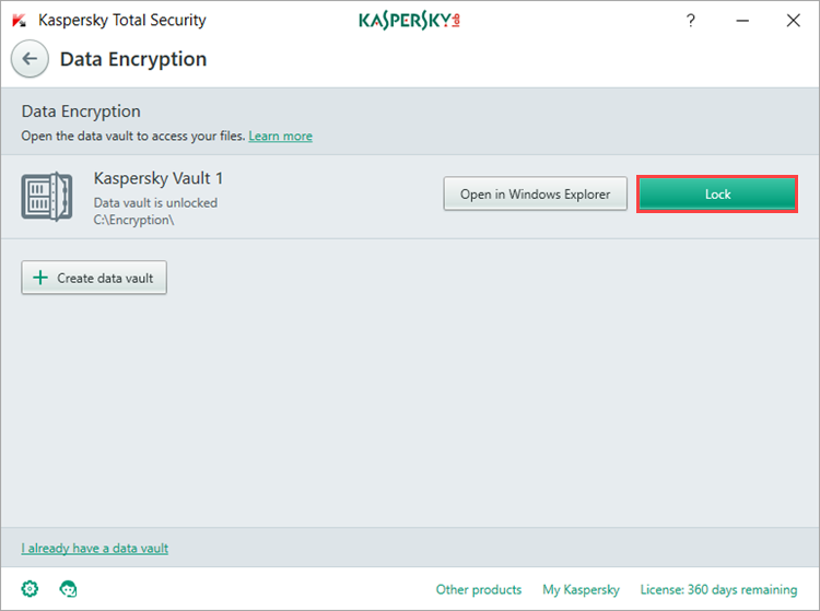 Image: encryption of data in the vault in Kaspersky Total Security
