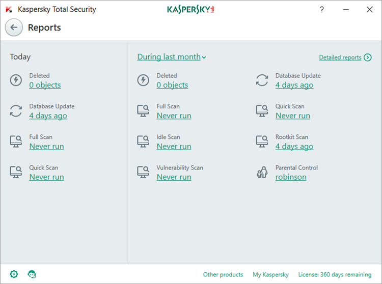 Image: Kaspersky Total Security Reports window