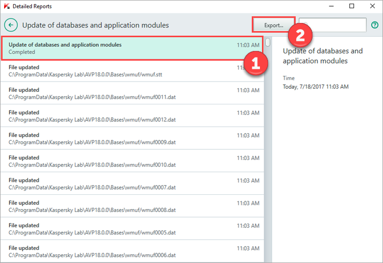 Image: the Detailed Reports window in Kaspersky Total Security