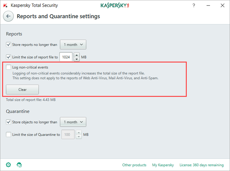 Image: the Reports and Quarantine settings window in Kaspersky Total Security