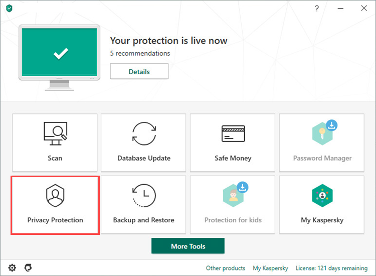 Opening the Privacy Protection section in Kaspersky Total Security 20
