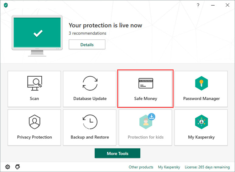 Opening the Safe Money window of Kaspersky Total Security 20