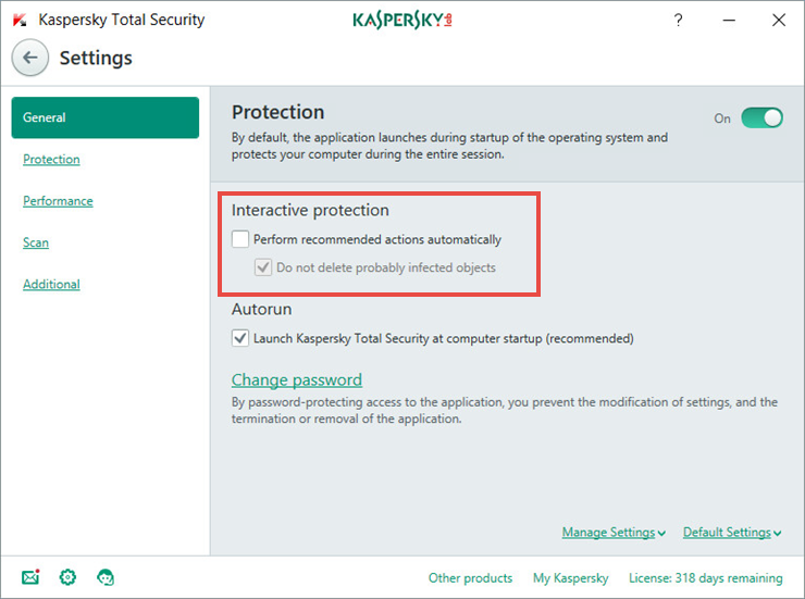 Disable the automatic protection mode in Kaspersky Total Security 2018