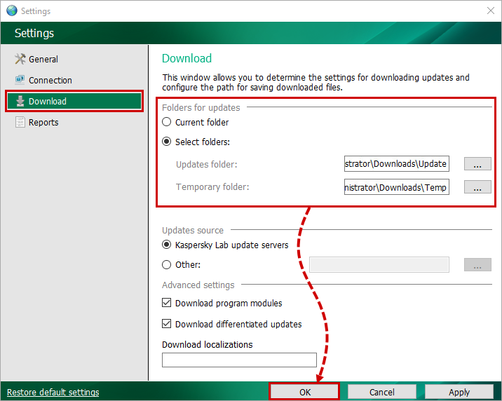 Selecting update folders in Kaspersky Update Utility 3.0