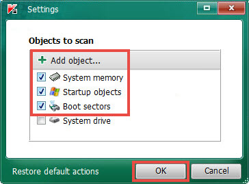Changing scan scope in Kaspersky Virus Removal Tool