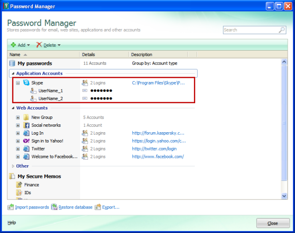 How to save Skype account in Password Manager in Kaspersky
