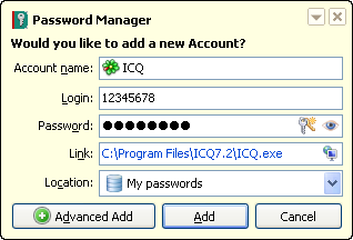 How to save ICQ account in Password Manager from Kaspersky