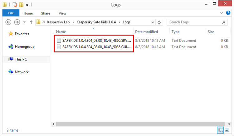 Opening the folder containing the Kaspersky Safe Kids trace files